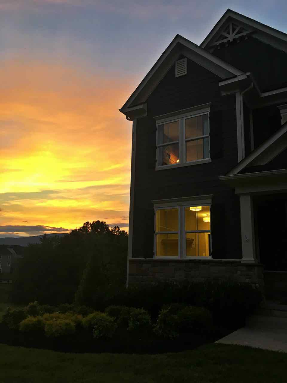 Amazing sunset in Westlake Crozet subdivision
