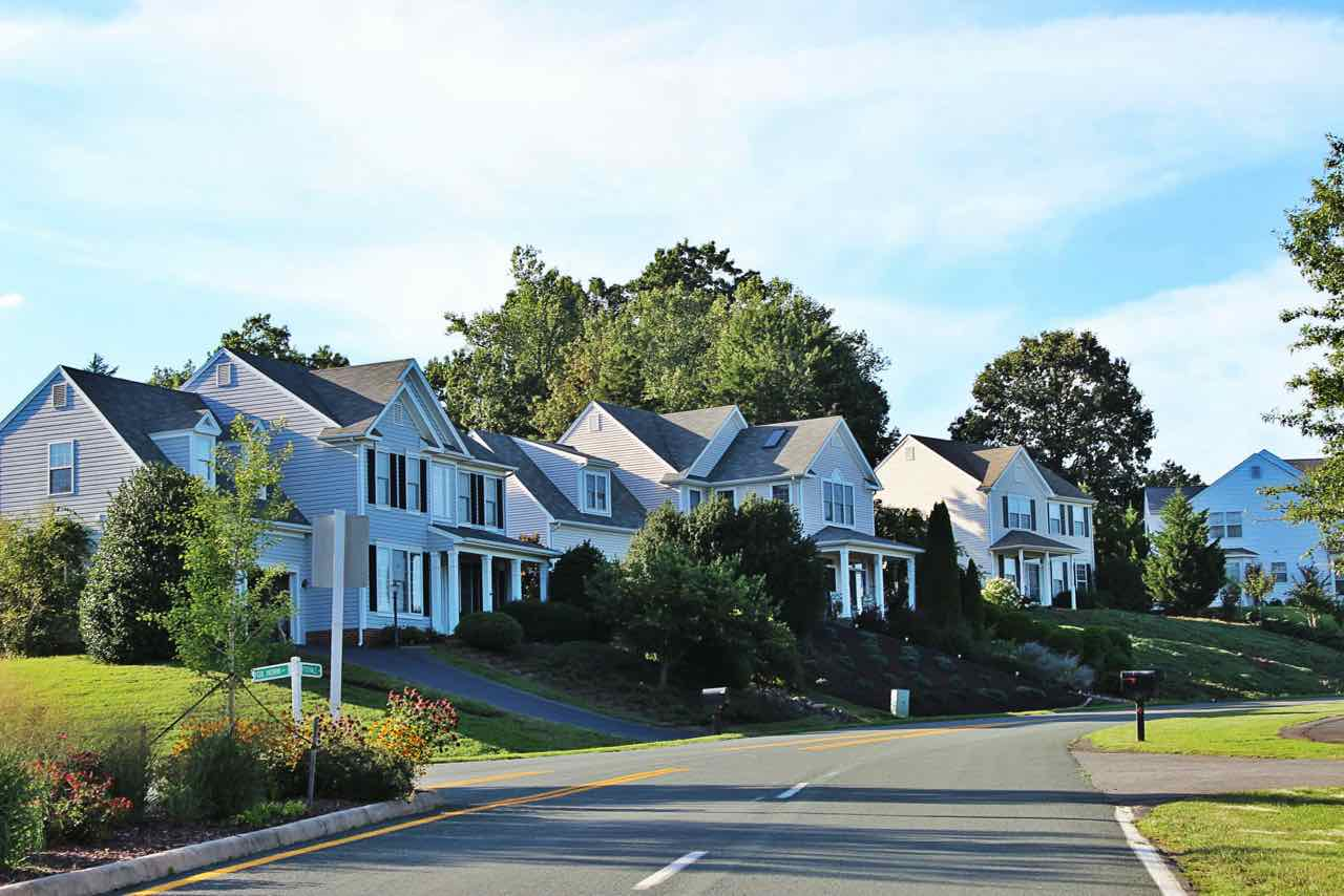 Row of single family homes in Foxcroft Subdivision Charlottesville VA