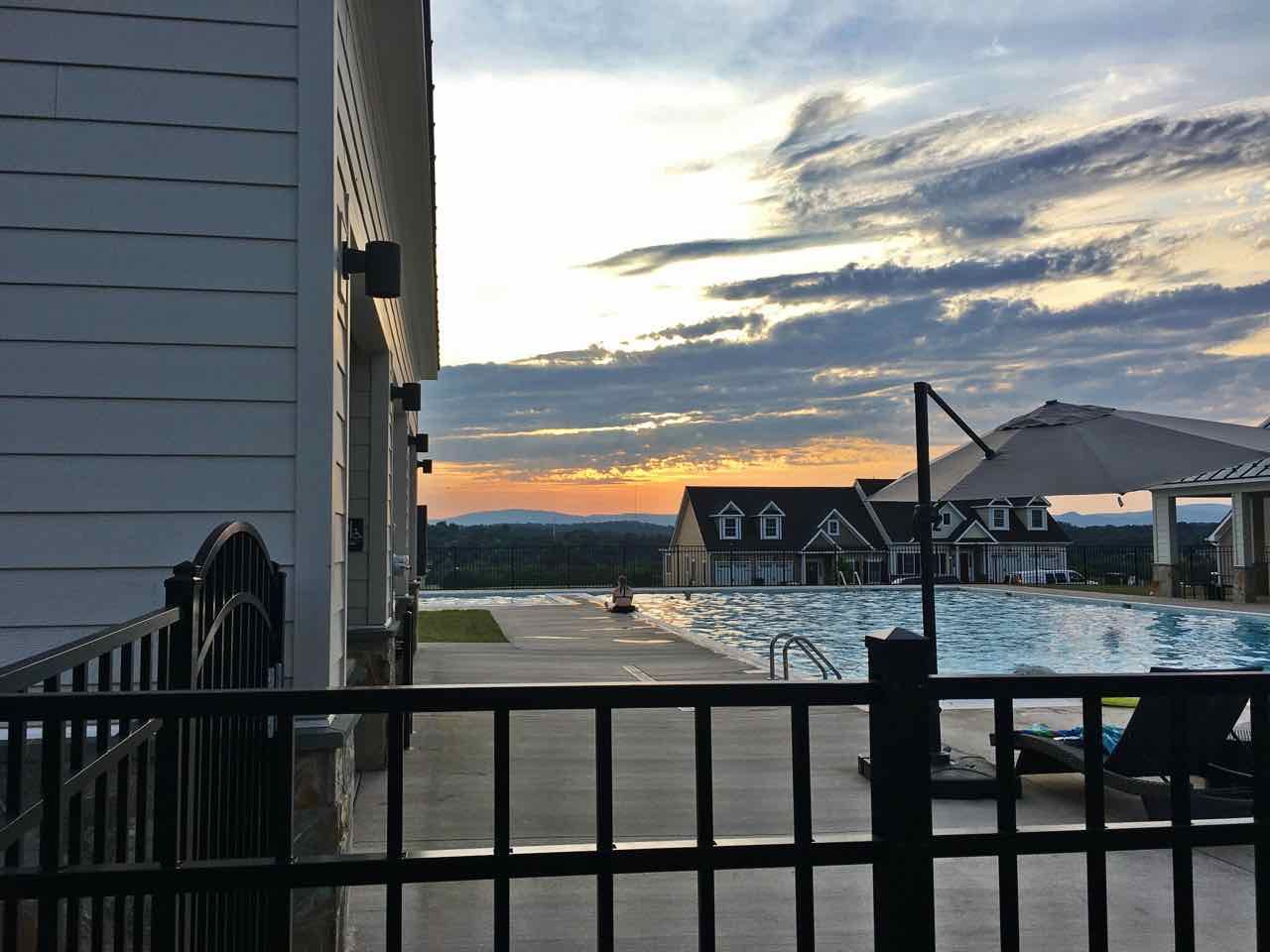 Cascadia pool view during sunset.