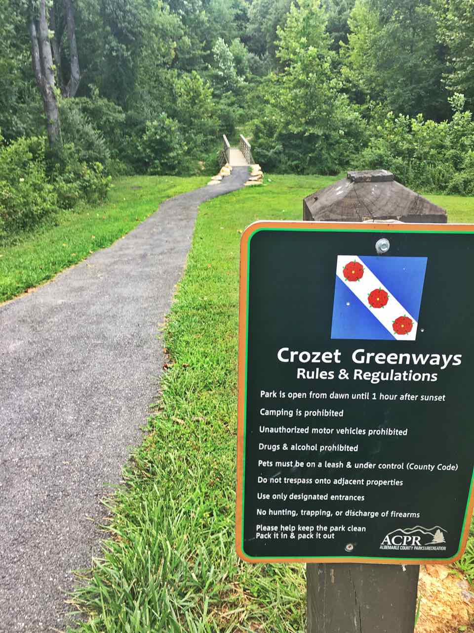 Westhall entrance to Crozet Greenway Trails.