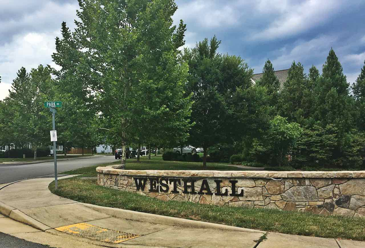 Westhall signage to enter neighborhood.