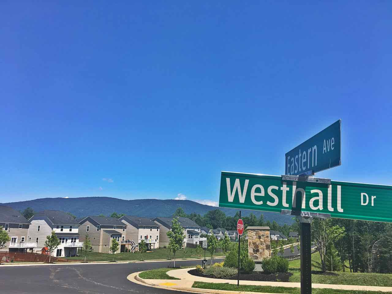 Westhall street sign with epic mountain views in the backgrond.