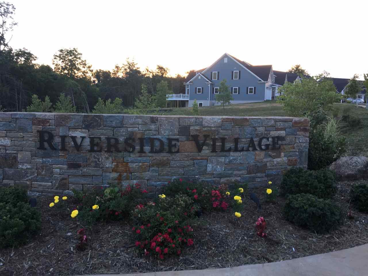 Entrance to new home community Riverside Village Charlottesville